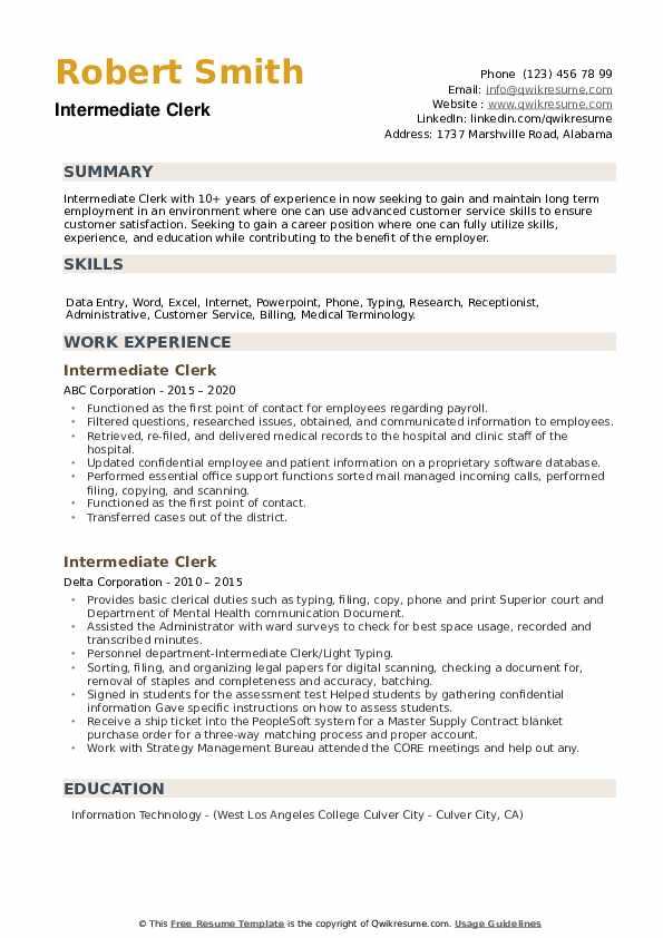 Intermediate Clerk Resume example