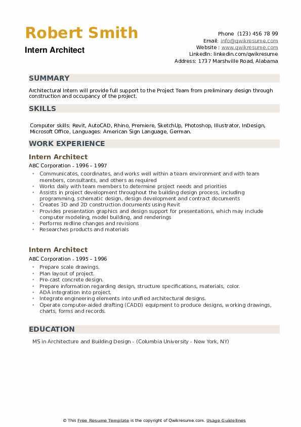Intern Architect Resume example