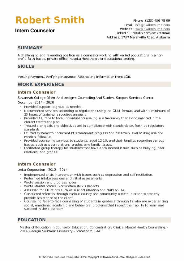 Intern Counselor Resume example