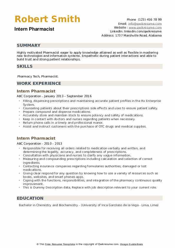 Intern Pharmacist Resume example