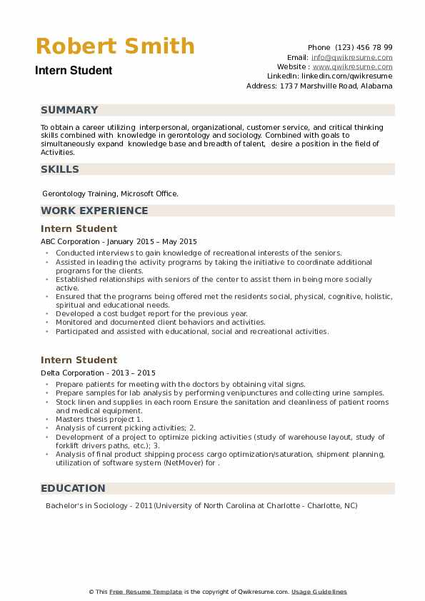 Intern Student Resume example