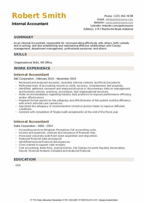 Internal Accountant Resume example