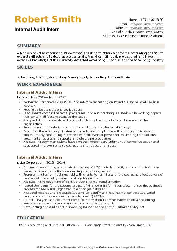 Internal Audit Intern Resume example