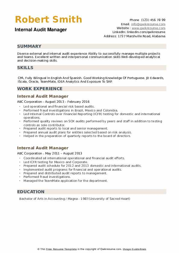 Internal Audit Manager Resume example
