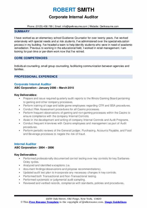 Corporate Internal Auditor Resume Model