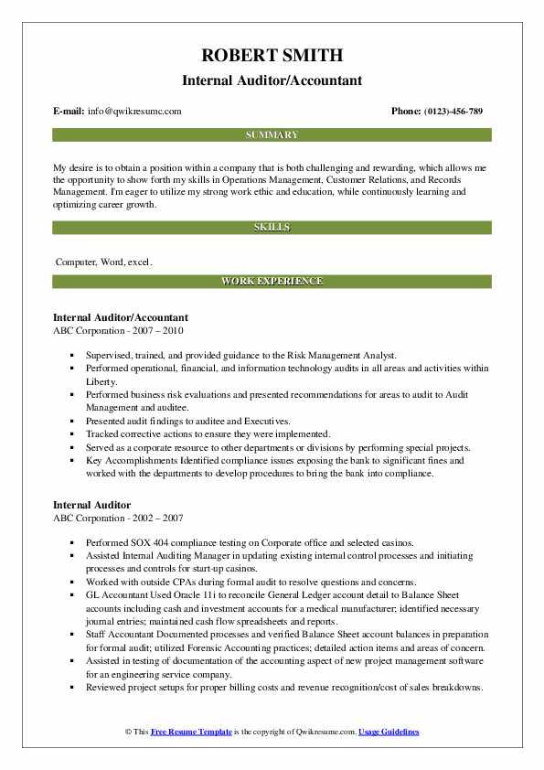 Internal Auditor/Accountant Resume Format