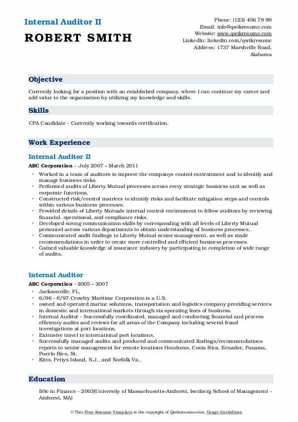 Internal Auditor II Resume Example