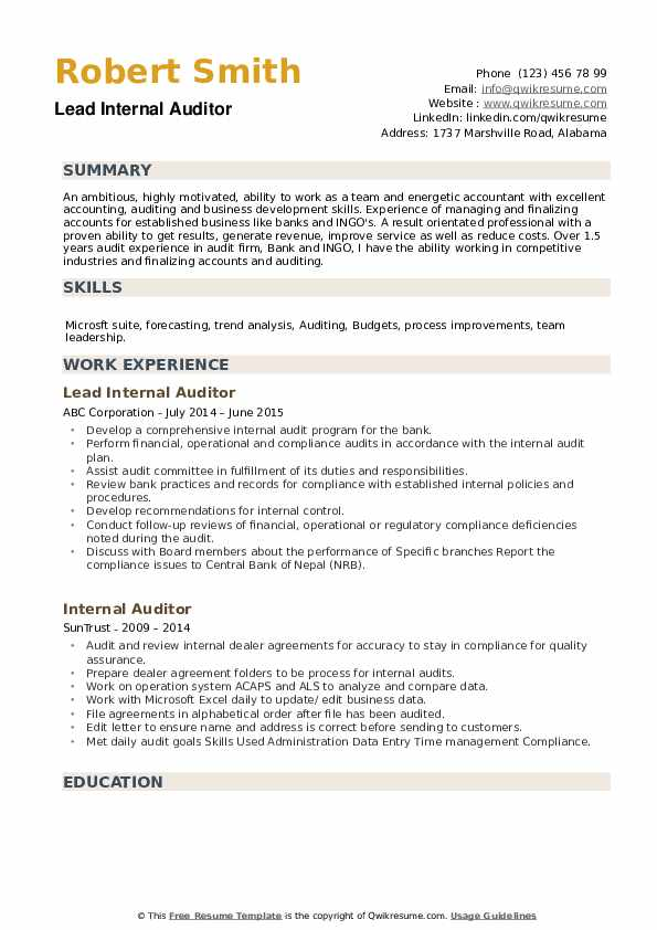 Lead Internal Auditor Resume Template