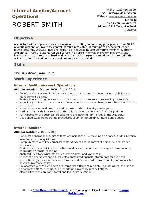 Internal Auditor/Account Operations Resume Template