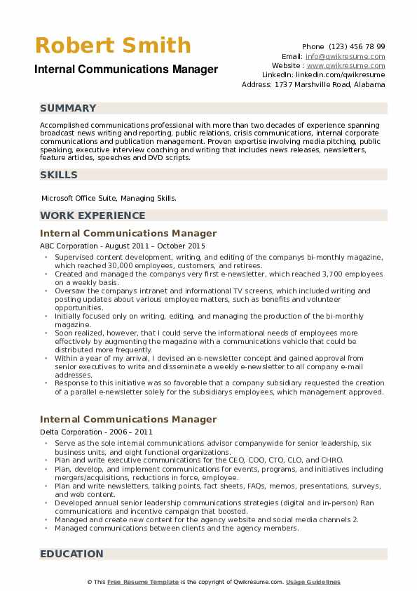 Internal Communications Manager Resume example