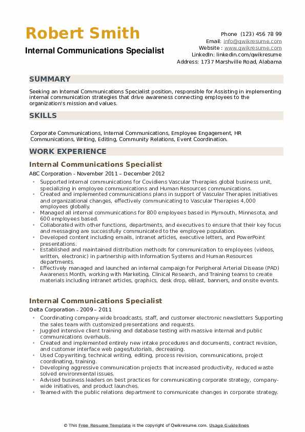 Internal Communications Specialist Resume example