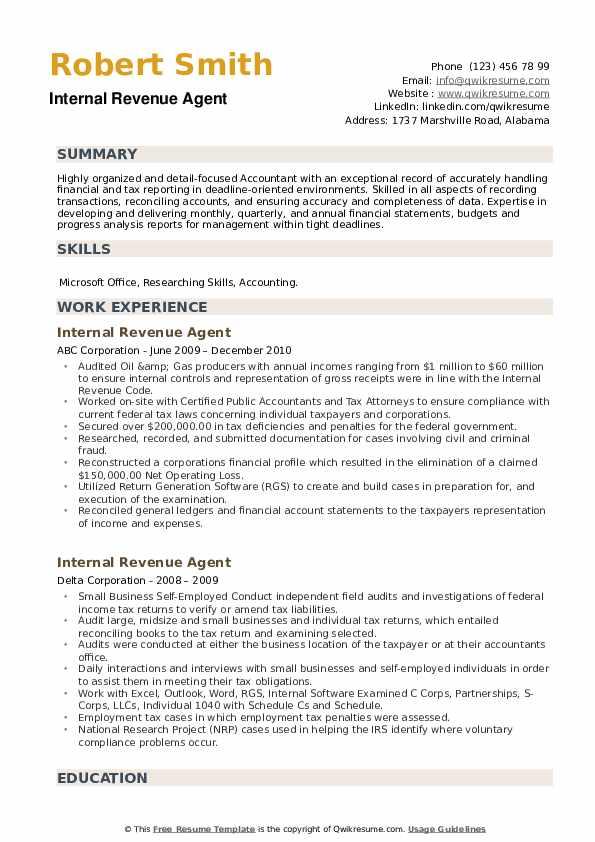 Internal Revenue Agent Resume example