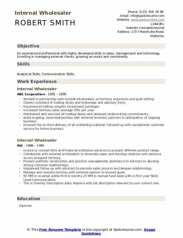 Internal Wholesaler Resume example