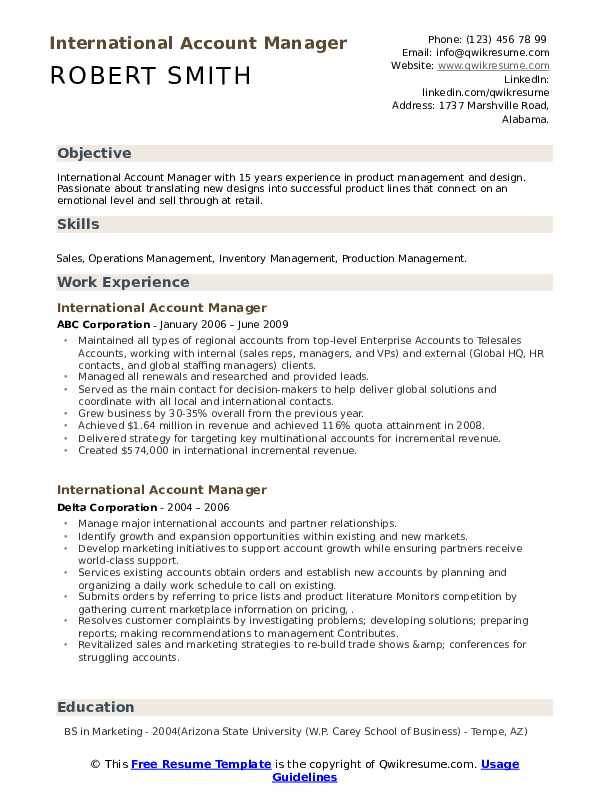 international account manager resume