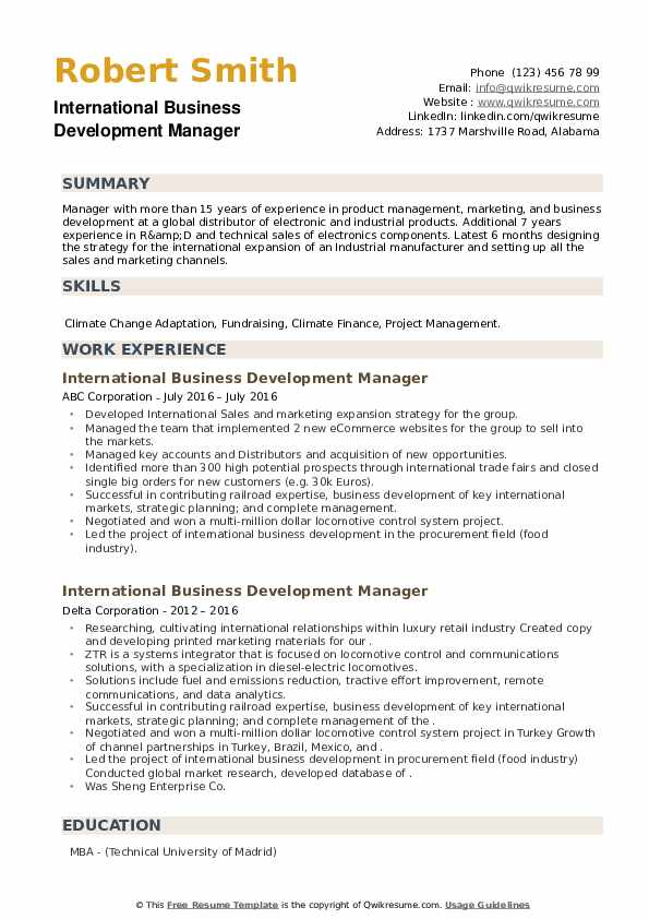 International Business Development Manager Resume example