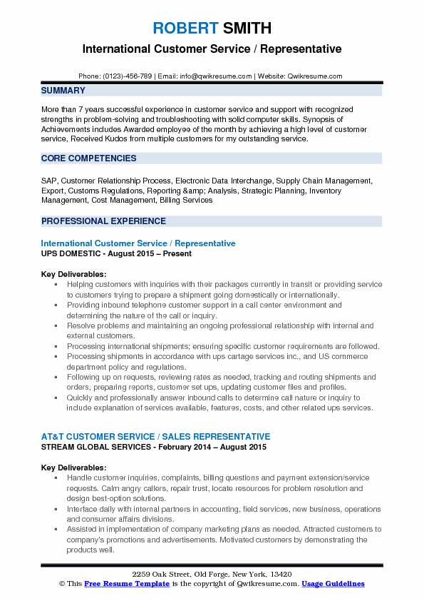 International Customer Service / Representative Resume Template