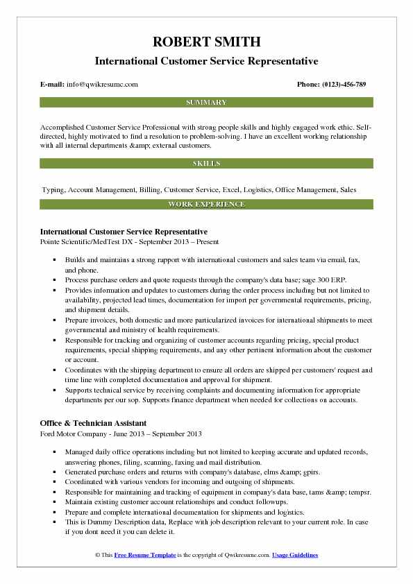 International Customer Service Representative Resume Model