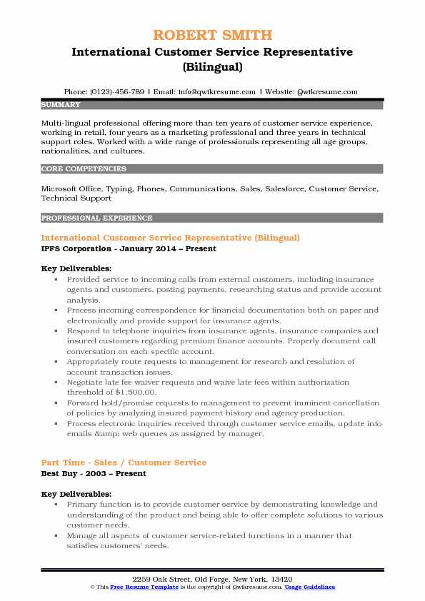 International Customer Service Representative (Bilingual) Resume Example