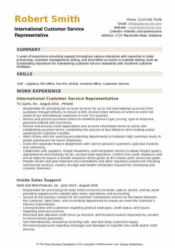 international customer service representative resume