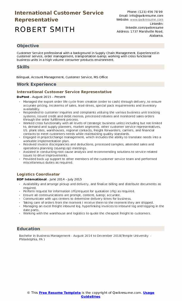 International Customer Service Representative Resume example