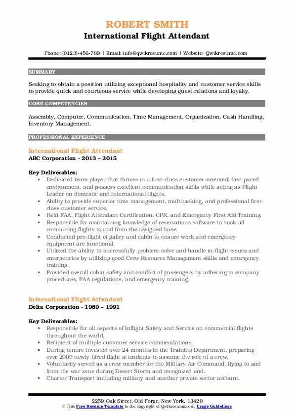 international flight attendant resume samples  qwikresume