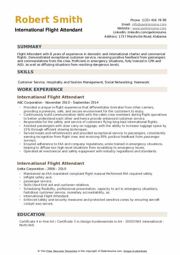 International Flight Attendant Resume example