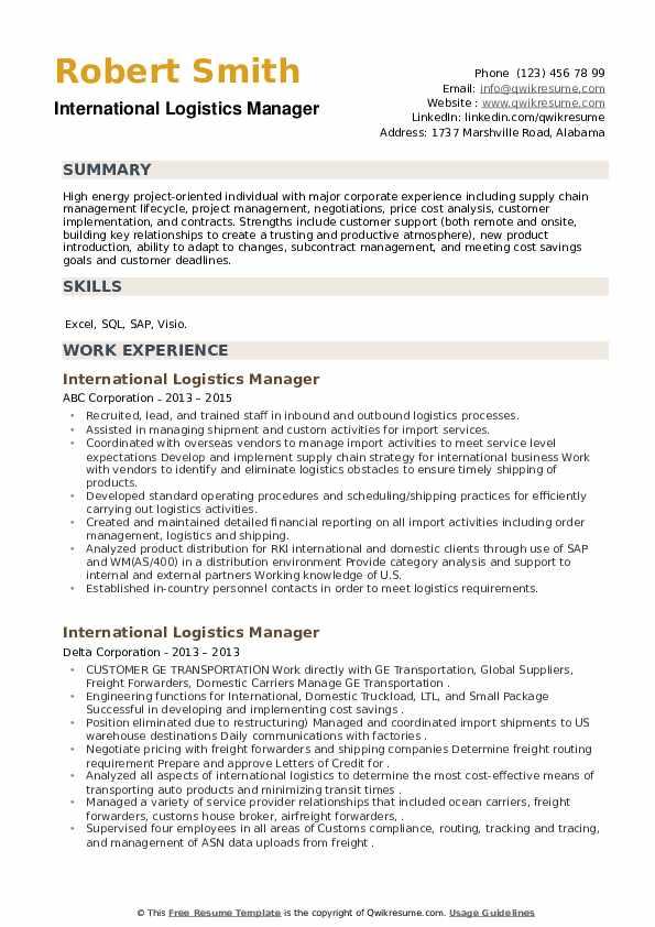 International Logistics Manager Resume example