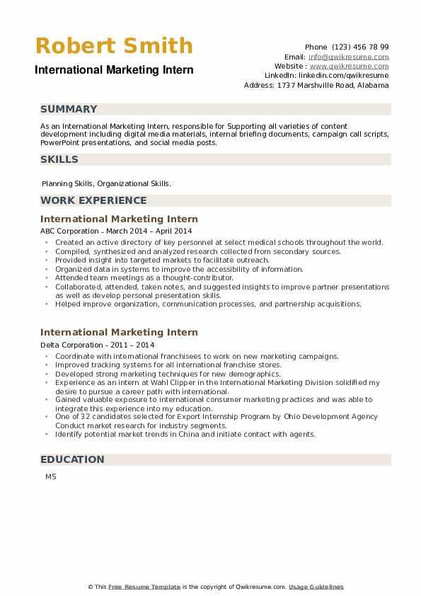 International Marketing Intern Resume example
