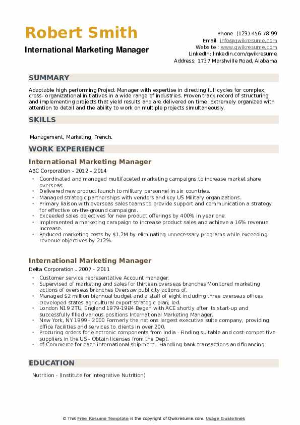 International Marketing Manager Resume example