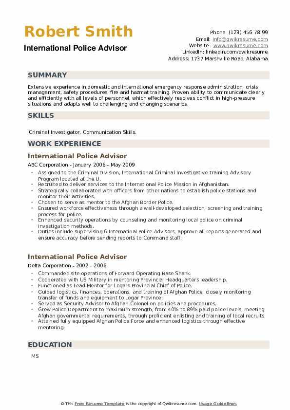 International Police Advisor Resume example