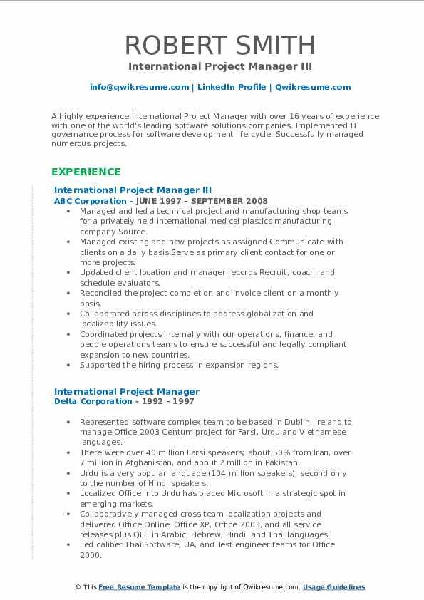 international project manager resume samples  qwikresume