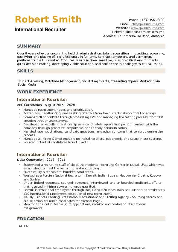 International Recruiter Resume example