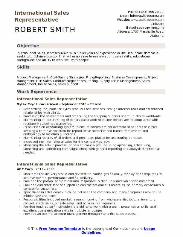 International Sales Representative Resume Format