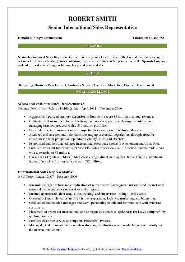 Senior International Sales Representative Resume Template
