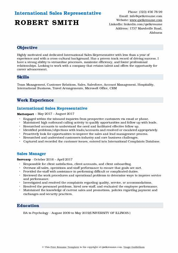 International Sales Representative Resume Sample