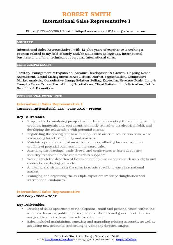 International Sales Representative I Resume Example