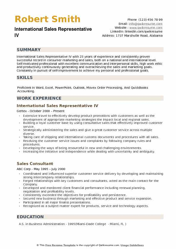 International Sales Representative Resume example