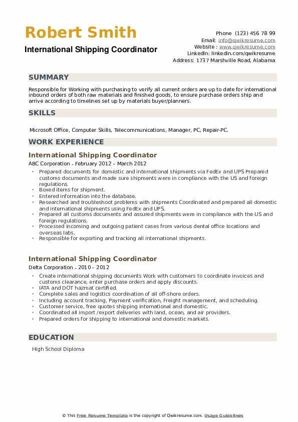 International Shipping Coordinator Resume example