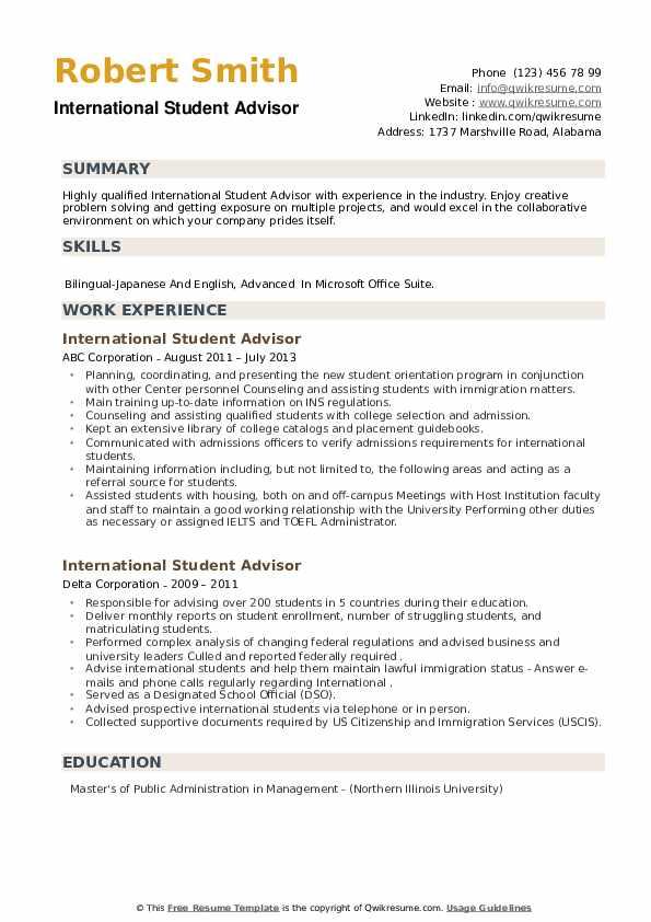 International Student Advisor Resume example