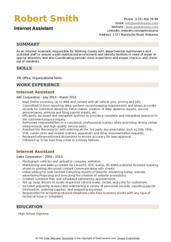 Internet Assistant Resume example