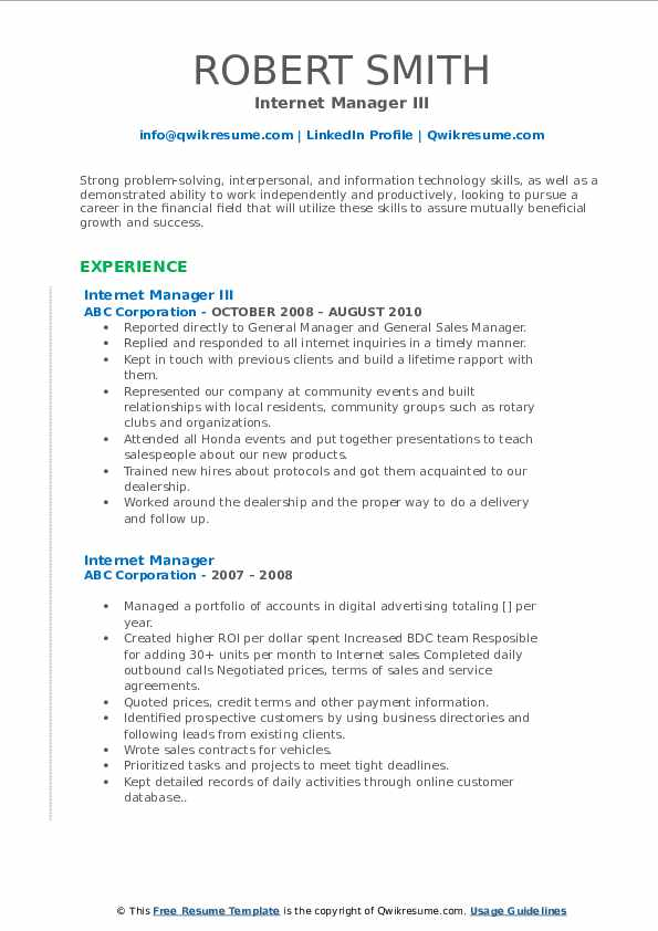 Internet Manager III Resume Template