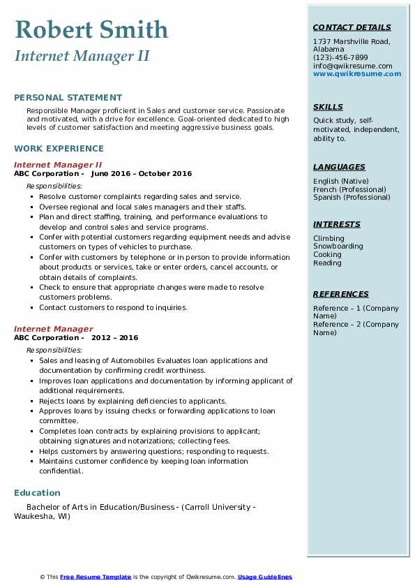 Internet Manager II Resume Example