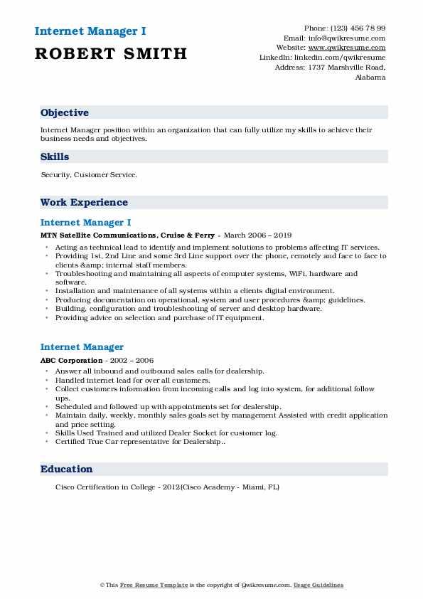 Internet Manager I Resume Example