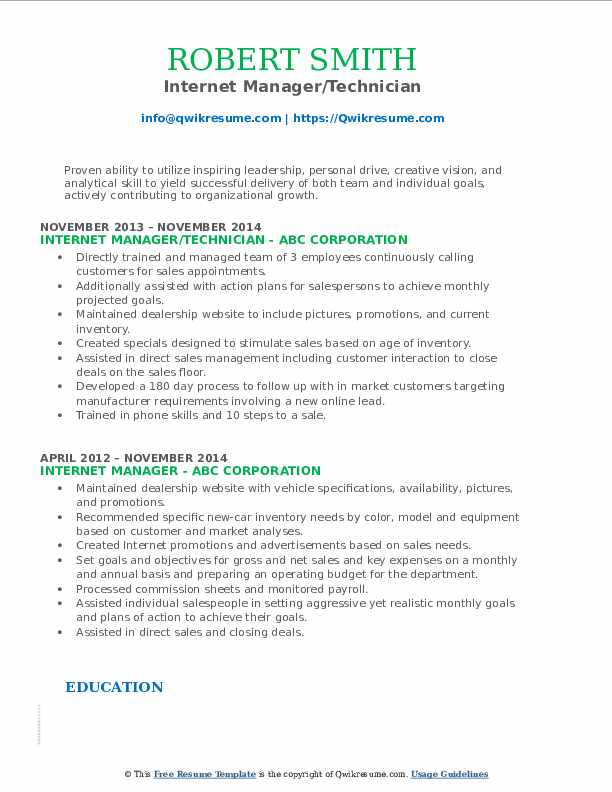 Internet Manager/Technician Resume Example