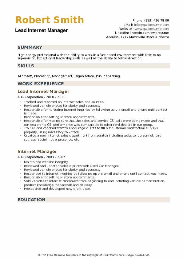 Lead Internet Manager Resume Template