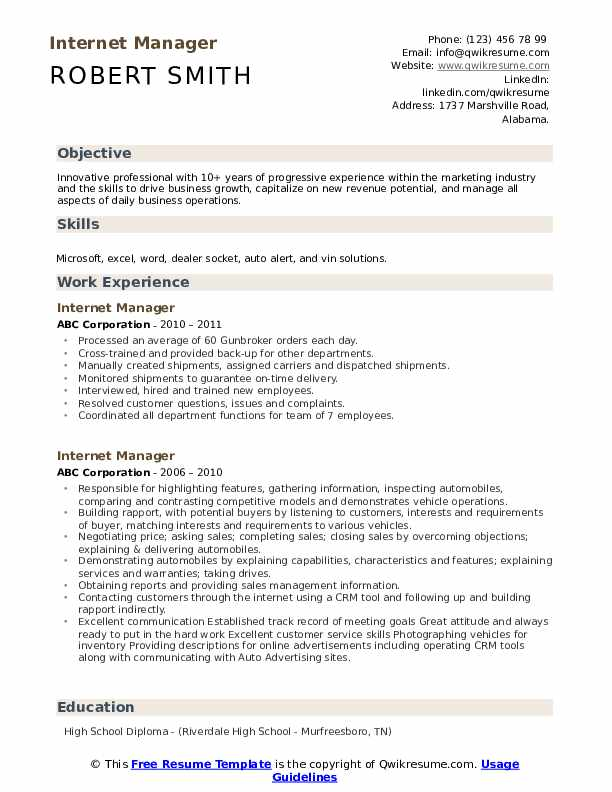 Internet Manager Resume example