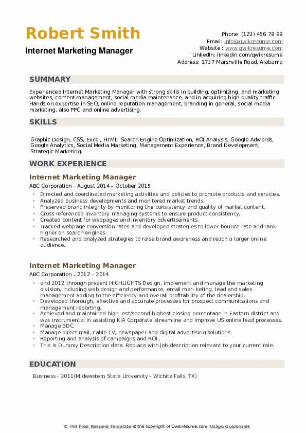 Internet Marketing Manager Resume example