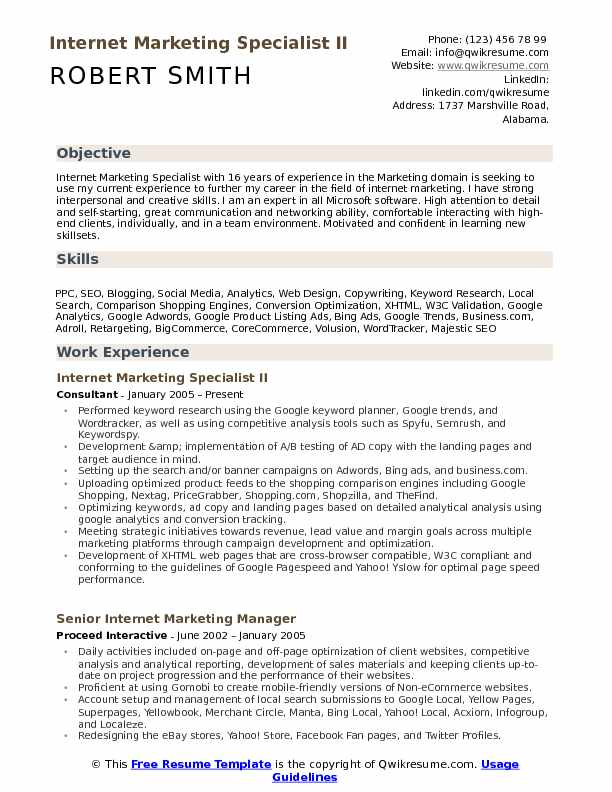 Internet Marketing Specialist II Resume Format