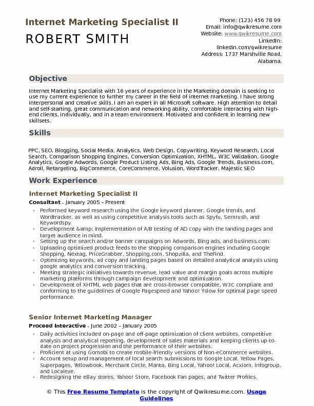 Internet Marketing Specialist II Resume Model