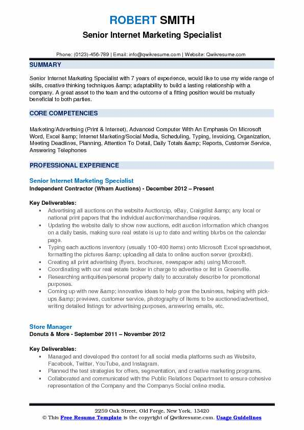Senior Internet Marketing Specialist Resume Sample